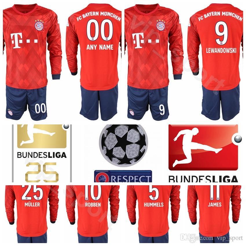 7682503d3b777 Compre 2018 2019 Futebol Bayern Munique Camisola De Manga Longa Conjunto 9  LEWANDOWSKI 22 GNABRY 10 ROBBEN 11 JAMES 25 MULLER Camisa De Futebol Kits  ...