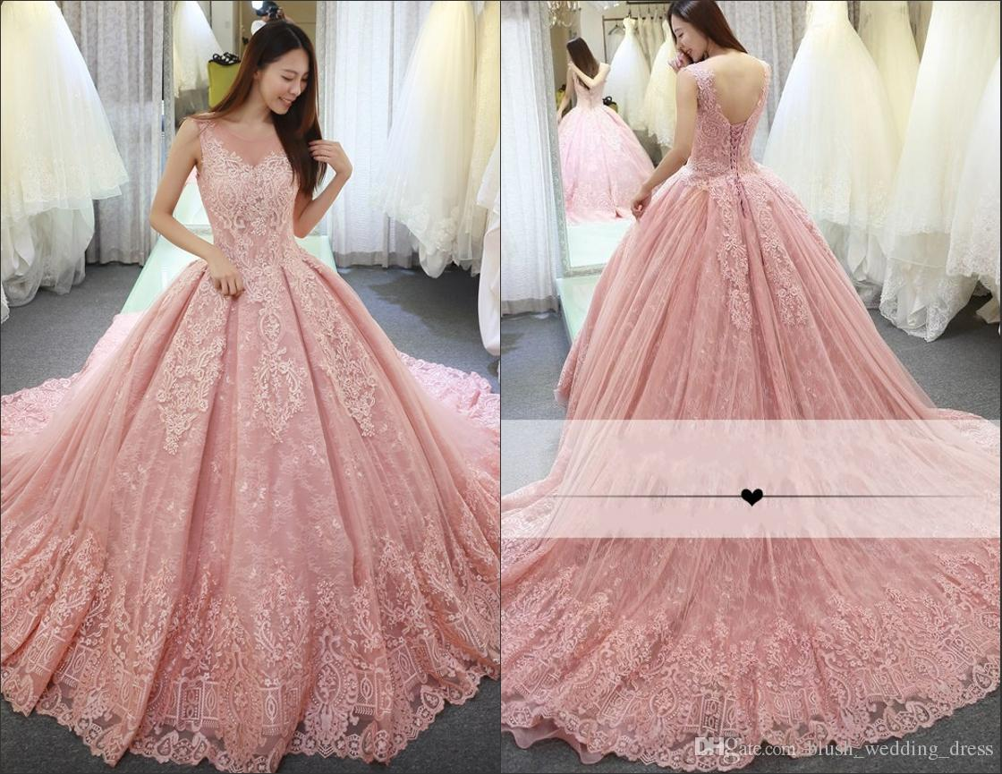 Luxury pink quinceanera dresses ball gown sheer neck sweep train