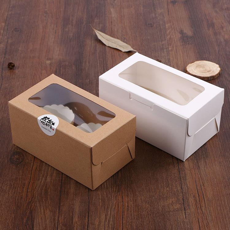5pcs cupcake paper packaging 2 Cup Cake Holders White Brown kraft paper cake box window Gift Packaging Wedding home party Free shipping
