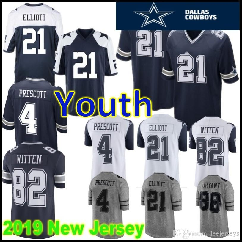 19dbaffb241 2019 Cowboys Youth Kids 21 Ezekiel Elliott Dallas Jersey 88 Dez Bryant 4  Dak Prescott 82 Jason Witt 100% Stitched Football Jerseys From  Mitasneakere2019, ...