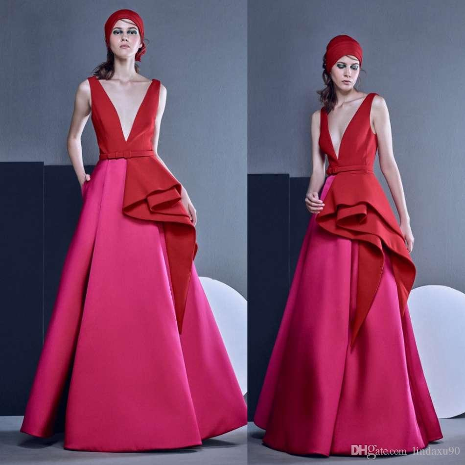 8acaa7a8c7 Designer 2019 Pink Red Prom Dresses Sexy Deep V Neck Cheap Formal Evening  Gowns A Line Dress Party Wear Prom Gowns Evening Dresses Pageant Dresses  Online ...