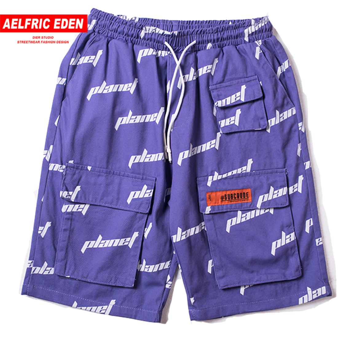 Aelfric Eden Letter Full Print Fashion Short Jogger 2019 Hip Hop Shorts Summer Casual Streetwear Drawstring Cargo Knee Length C19040402