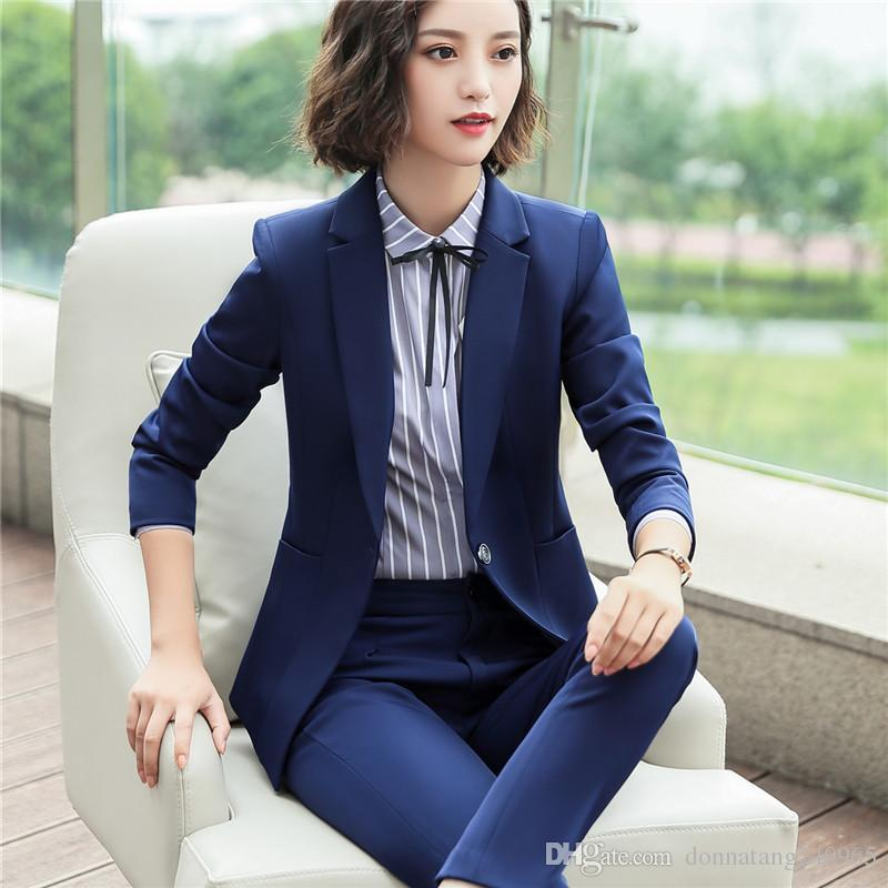 88ffcaccdd8 2019 Women Single Breast Blazer Suits Office Lady Sets Two Piece Work Set  Long Sleeve Lotus Suit Jacket   Straight Pant Outfits 6001 From Dujotree