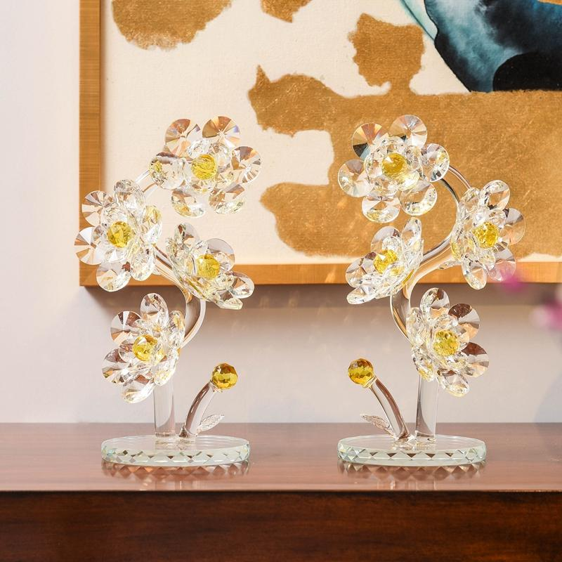 Xmas Gifts Crystal Flowers Figurines Paperweight Glass Art Table Ornaments Souvenir Home Wedding Decorative