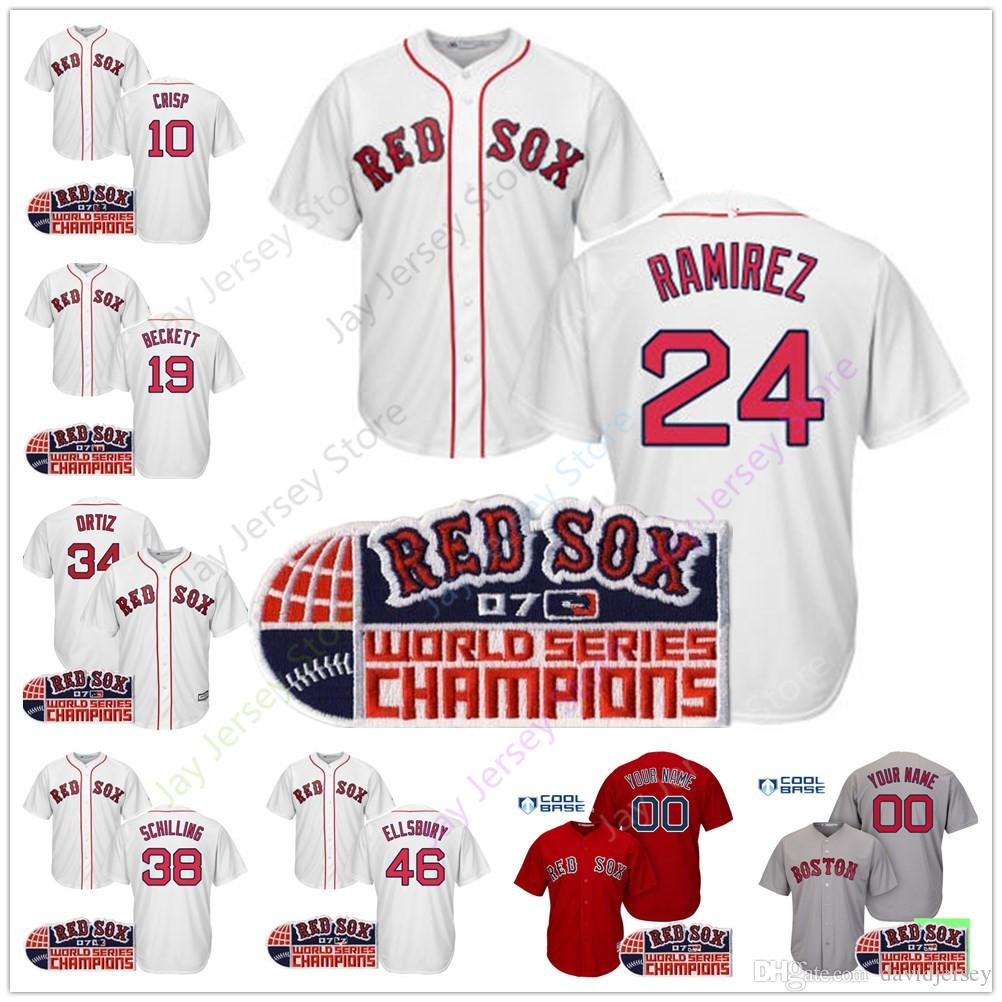 sports shoes c166d dafc3 Boston 2007 World Series Red Sox Jersey Lugo Crisp Jacoby Ellsbury Kielty  Brandon Moss Murphy Pena Francona Bailey Buchholz Clayton Cora Hin
