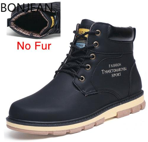 44ec6abf974 BONJEAN Hot Newest Keep Warm Winter Boots Men High Quality Pu Leather Wear  Resisting Casual Shoes Working Fashion Men Boots