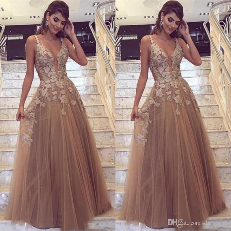 ceb34f58aa 2019 Elegant Sexy Brown Long Prom Dresses Spaghetti Straps Deep V Neck A  Line Lace Appliques Evening Gowns Vestidos De Festa Women Wear 50s Prom  Dresses 80s ...