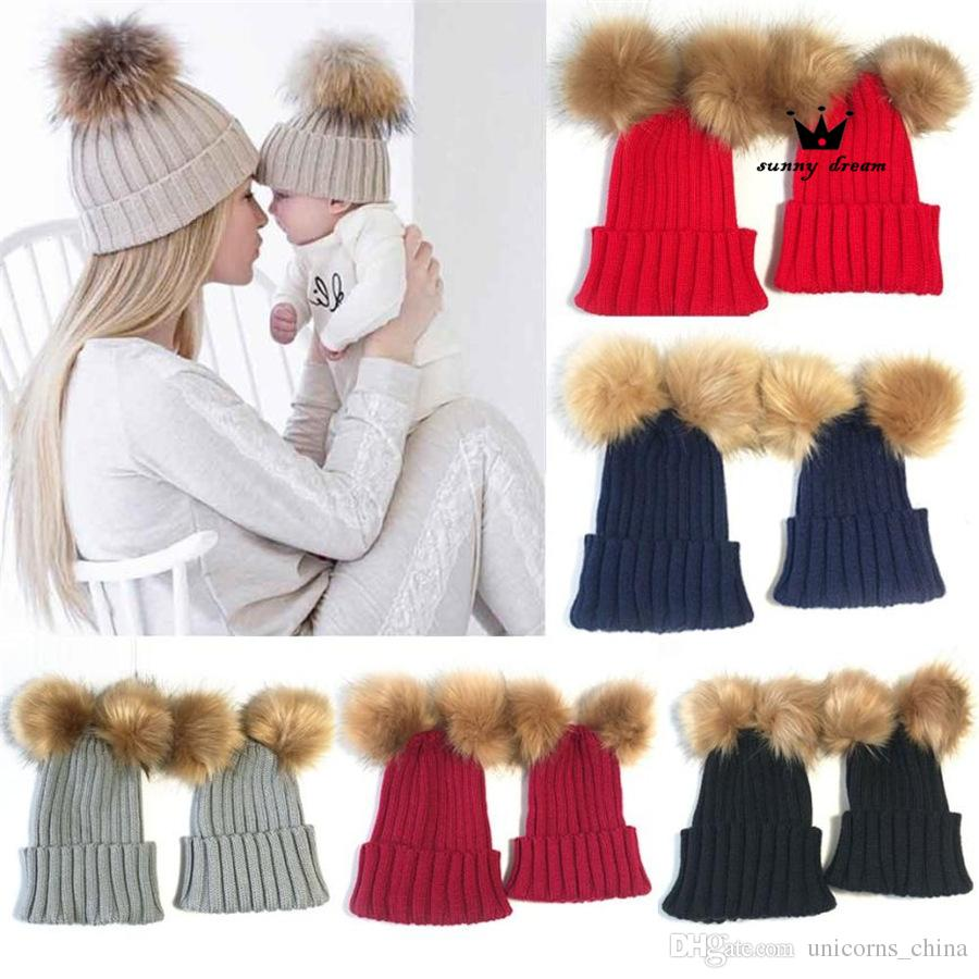 4aed99a274f Mom Kid Knit Beanie Cap Hat Ski Double Faux Fur Pom Bobble Ball Knitted Hat  Cap Beanie CNY760 Slouch Beanie Ski Hats From Unicorns china