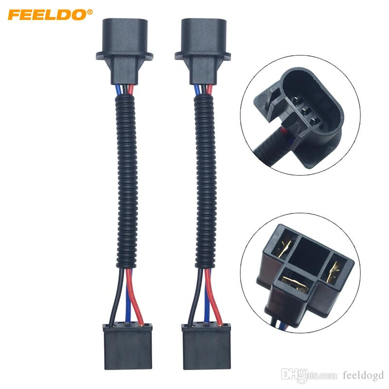 2pcs Car HID LED Bulb Headlight Plug Adapter H4 To H13 Car Light Cord H Headlight Wire Harness on
