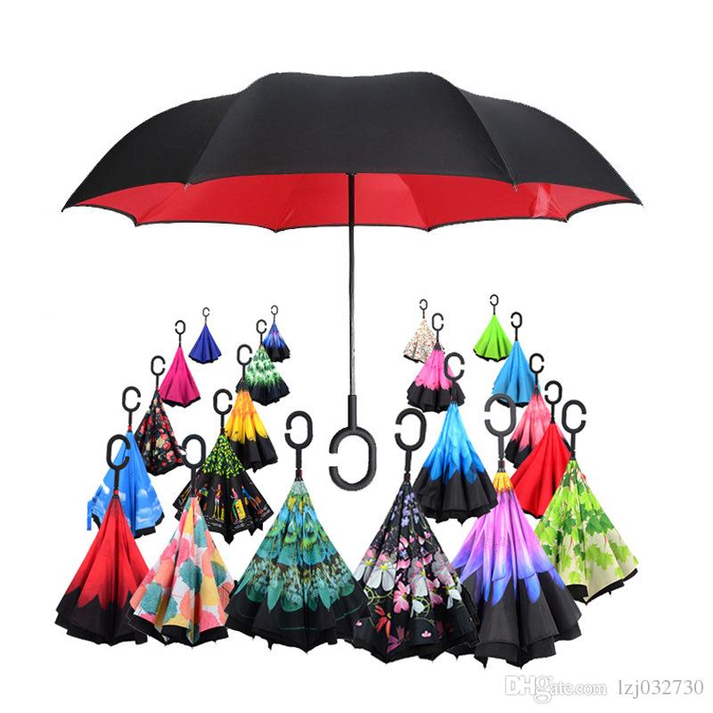 Fashion C-Hand Windproof Reverse Double Layer Inverted Umbrella Inside Out  Self Stand Windproof Umbrella 38 design A006
