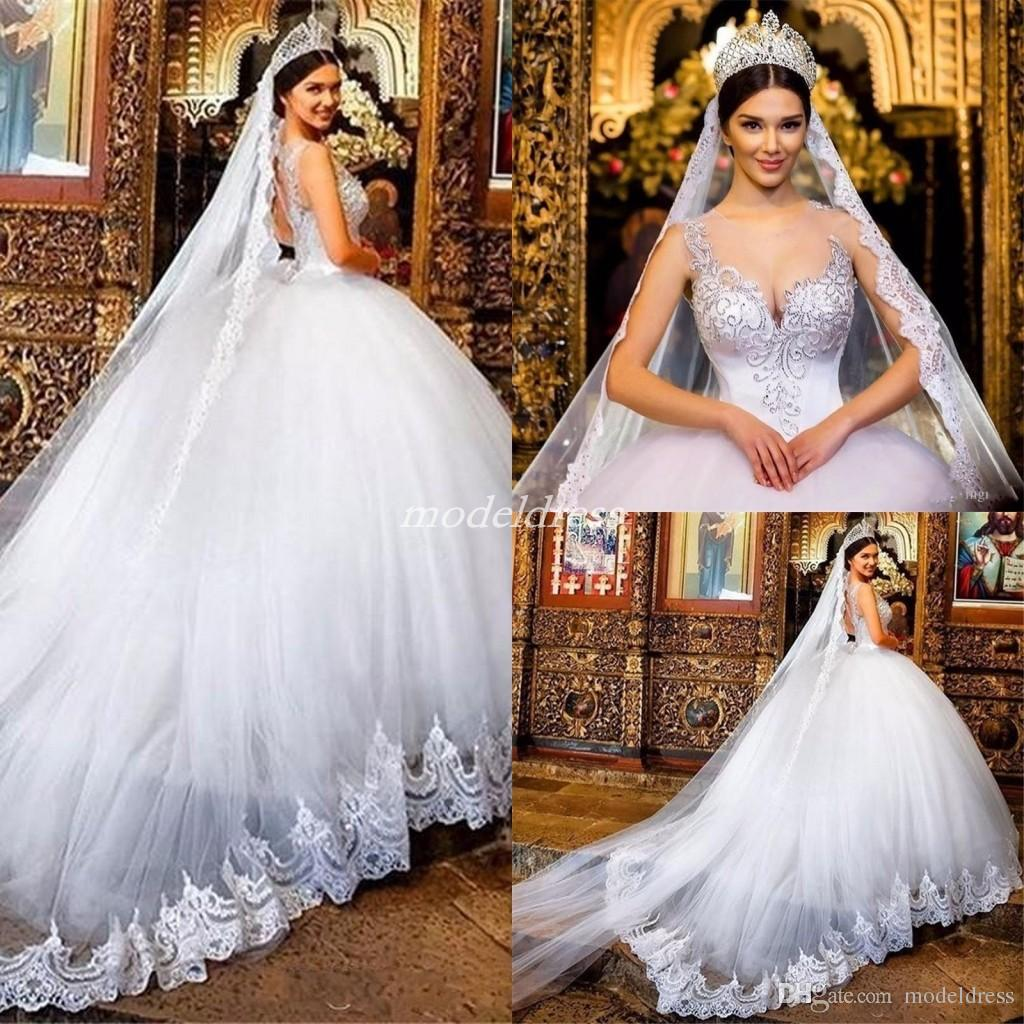 Princess Ball Gown Sheer Jewel Neck Crystal Beads Sweep Train Appliques Arabic Chapel Garden Country Bridal Gowns vestido de novia Plus Size