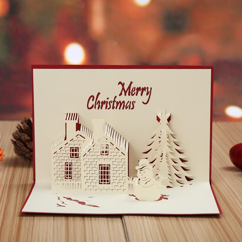 Christmas Cards 3D Pop Up Merry Series Handmade Custom Greeting Gifts Souvenirs Postcards Animated