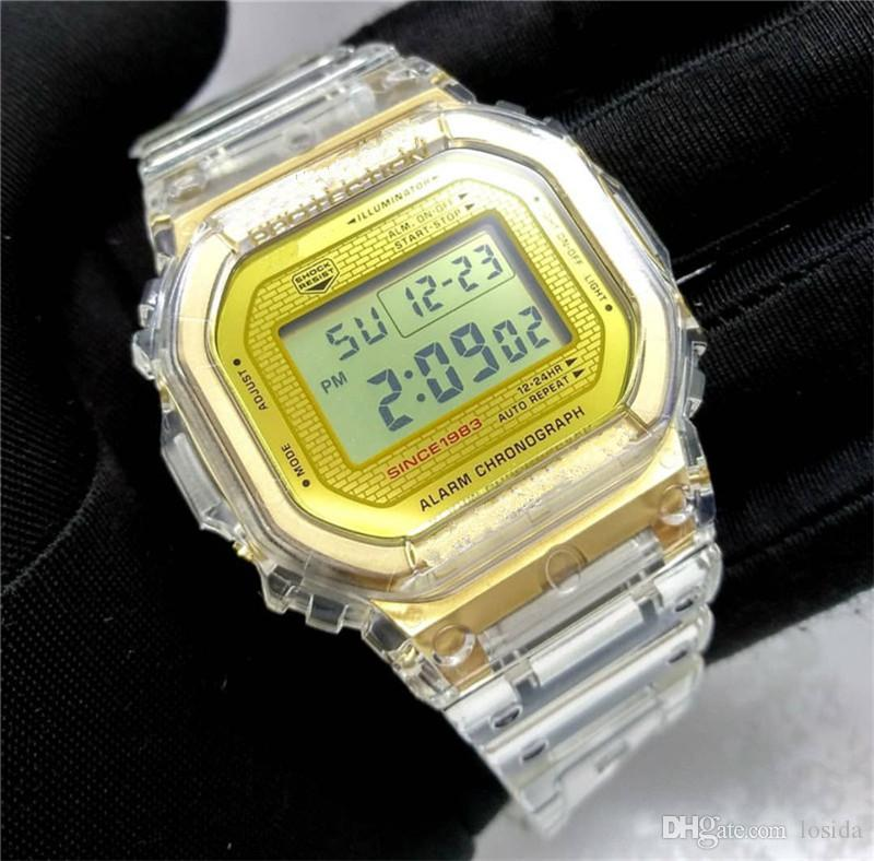 35th Anniversary Watches With Box Square Dial G Style Shock LED Waterproof Sport Watch Transparent Gold Men's Military Watche