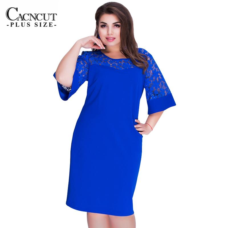 2019 Women S Dresses Of Big Sizes Lace Patchwork Dress Female Plus Size  Tunic Dress Summer 2018 Ladies Office Work Vestidos Clothing Y19012102 From  ... 5102e9911760