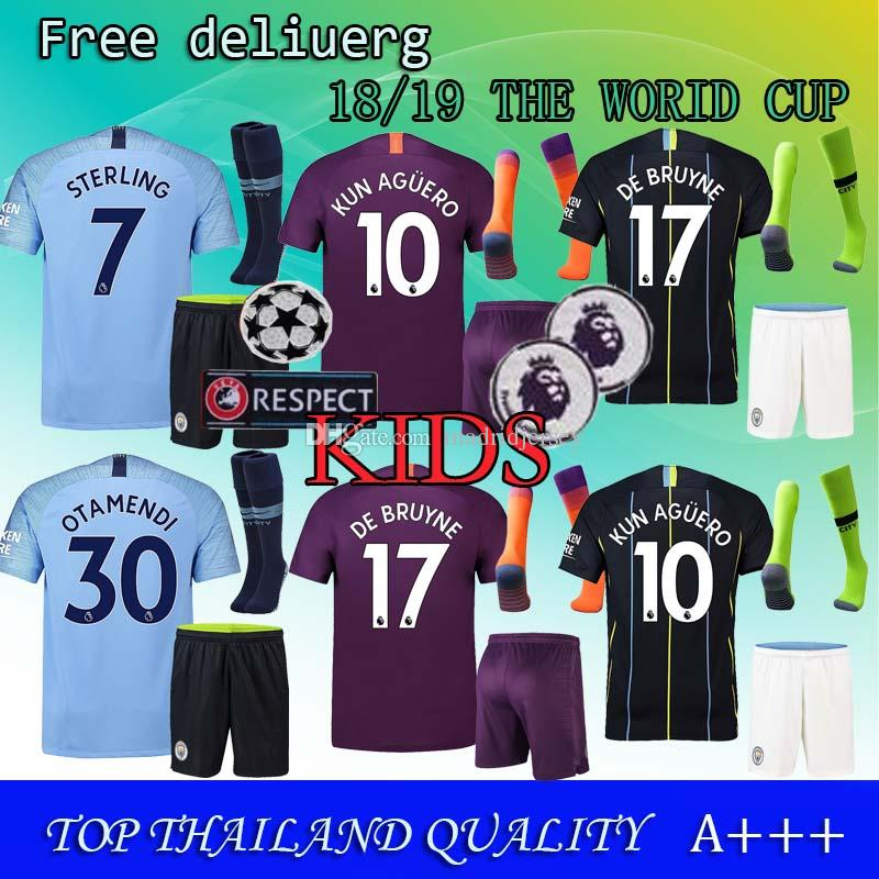 2019 Kids+Socks Man City Soccer Jersey Home Kids Kit Socks 18 19 City Away  MAHREZ KUN AGUERO KOMPANY TOURE YAYA DE BRUYNE Child Football Jersys From  ... 518123129
