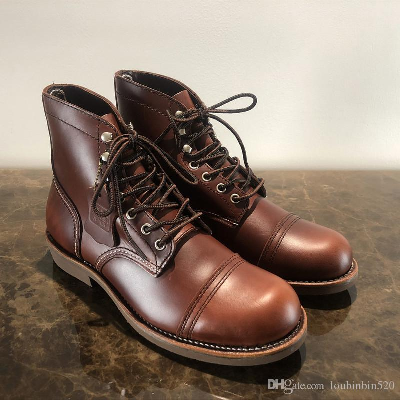 470c9d9708b3 Fashion Vintage Ankle Boots Men S Spring Shoes Motorcycle Boots Round Toe  Goodyear High Quality Wing Real Leather Cowhide Dress Red Canada 2019 From  ...