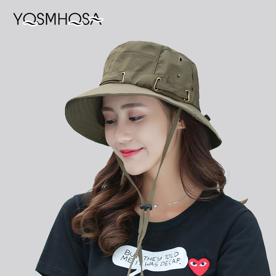 Cap Men Solid Summer Sun Hats for Women UV Protection Bucket Hats Hiking Fishing Wide Brim Mens Caps Femme Hat Unisex WH620