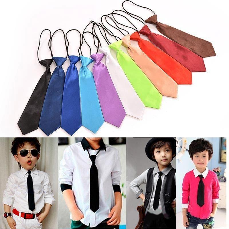 11 Colores Boy toddle Tie Kids Baby School Boy Boda Corbata Corbata Elástica Color Sólido Satén al por mayor D19011004