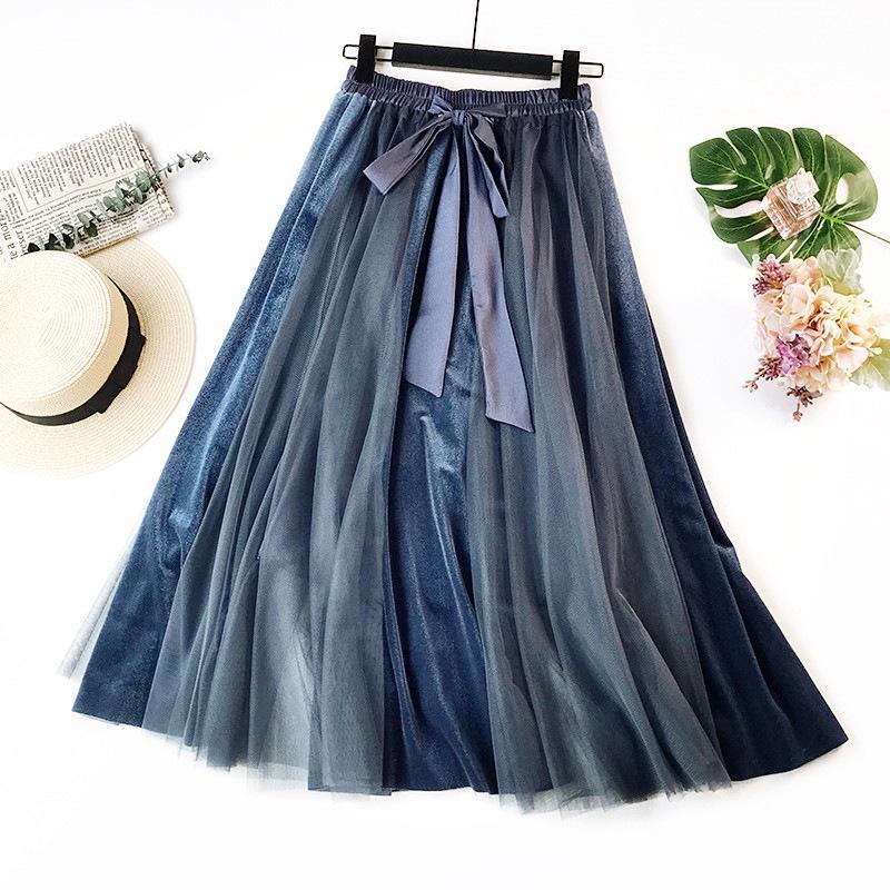 87c4e0c437e624 2019 hiver robe de bal jupes femmes bowknot longueur genou jupe midi taille  haute jupes évasées pour les femmes