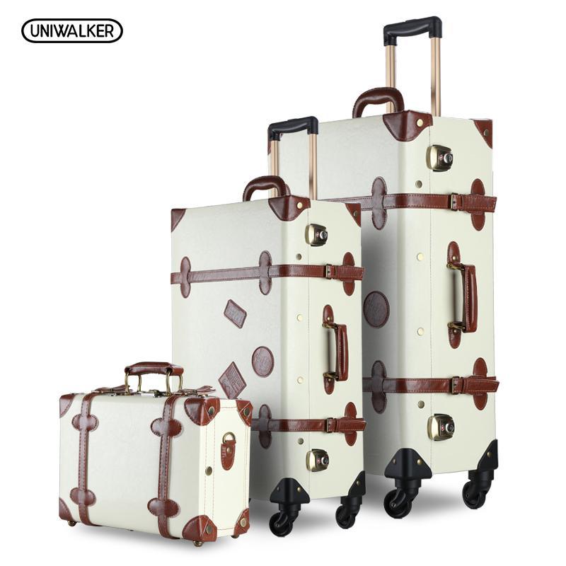 fb554d491 UNIWALKER 3PCS/SET Vintage PU Travel Luggage Durable suitcase,12