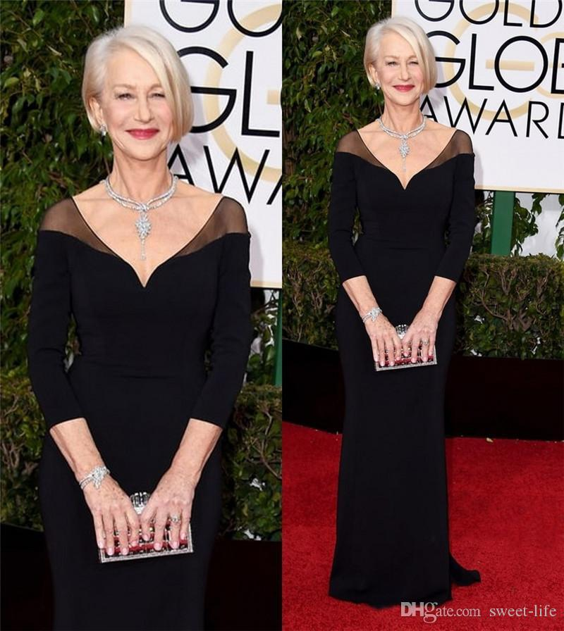 e1ab3f540c79 73rd Golden Globe Awards Celebrity Dresses Helen Mirren Long Sleeves Black  Formal Red Carpet Evening Prom Party Gowns Custom Celebrity Dresses Cheap  Evening ...