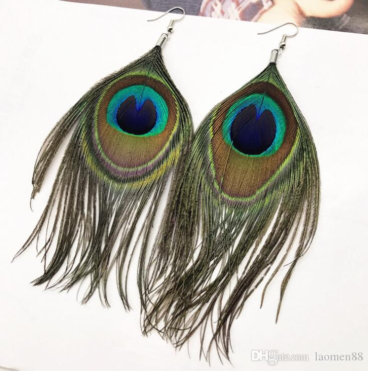 Bohemia Peacock Feathers Earrings Long Tassel Hanging Dangle Drop Ear Hook Charm Pendant Ear Studs Vintage Jewelry For Women Girls