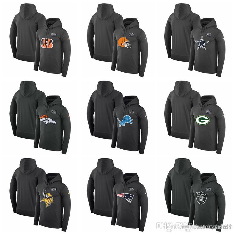 low priced 5f2f1 2435a MEN Bengals Browns Cowboys Broncos Lions Packers Crucial Catch Performance  Hoodie Anthracite