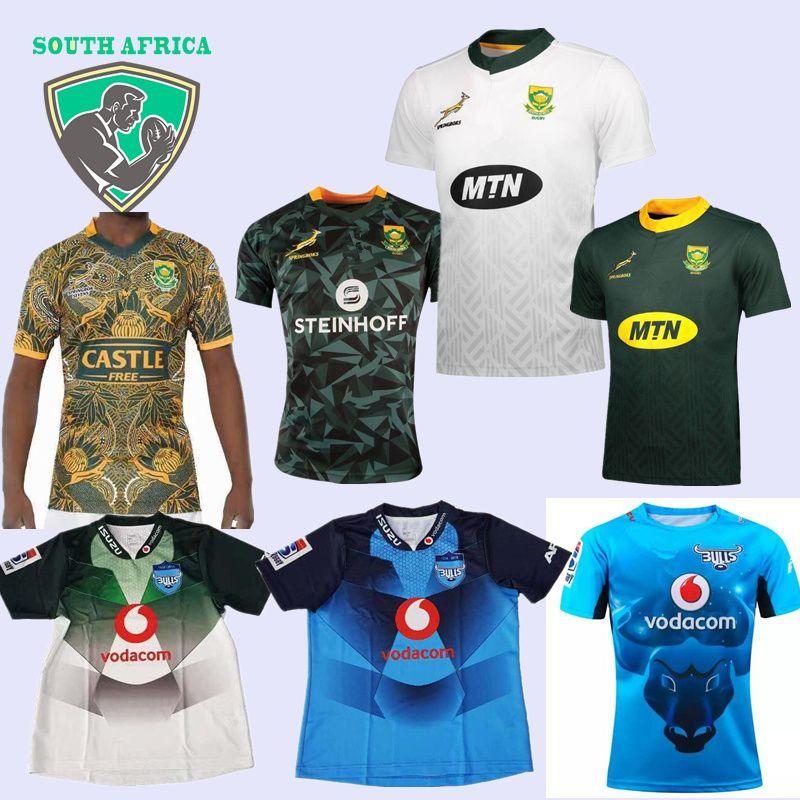 Compre 2019 2020 Hombres Camiseta Sudafricana De Sudáfrica 2018 2019 BULL  Home Rugby Jersey Blanco Uniformes De Rugby Alternativos BULLS Jersey S 3XL  A ... 2c828b669c6dd