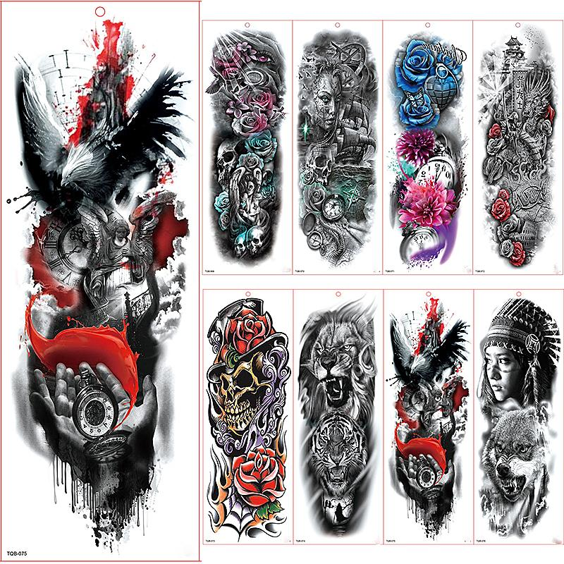 Large Arm Sleeve Tattoo Waterproof Temporary Tattoo Sticker Flying Eagle  Full Flower Tatoo Body Art Tattoo Girl
