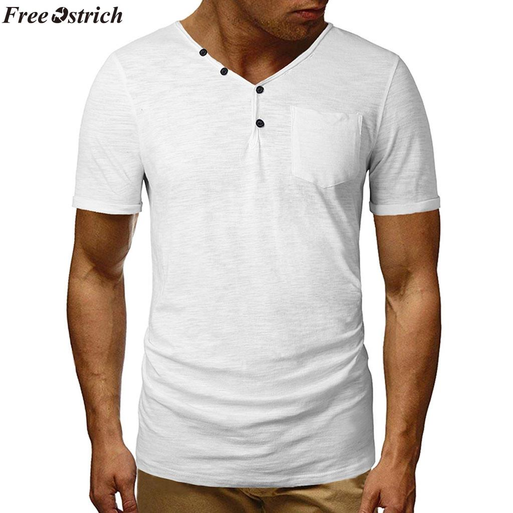 35f9b8b6eca FREE OSTRICH Cotton Men S Solid Color Short Sleeved T Shirt Tight O Neck  Male Summer Casual Pocket Comfortable Tops Plus Size Designer T Shirts  Short Sleeve ...