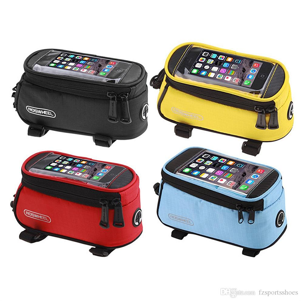 Waterproof Bicycle Front Bag MTB Road Bike Top Tube Frame Bag Riding Touch Screen 4.8 inch Cycling Pouch Phone #273050