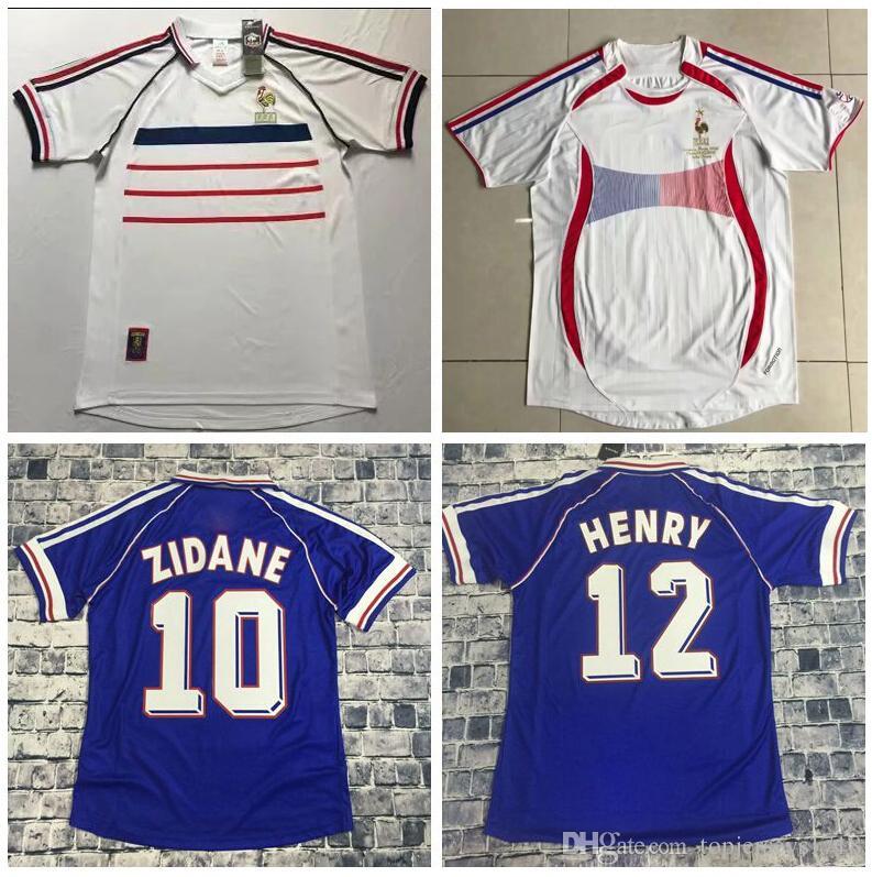 34ad75260 Acquista Maglia Da Calcio MAILLOT DE FOOT Retro Francia 1998 Coppa Del  Mondo 2006 Camiseta De Futbol Pullover Da Calcio VINTAGE ZIDANE HENRY Casa  Via Jersey ...