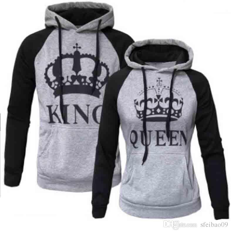26fc62cb4d 2019 Women Men Couple Hoodies KING QUEEN Letters Print Pullover Lapel Neck  Casual Plus Size S 5XL Long Sleeve Europen American Fashion Tops From  Sfeibao09, ...