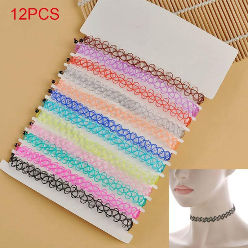 12pcs/lot Hot Sell Vintage Hippy Stretch Tattoo Choker Necklace Elastic Chocker Necklace Fishing Line Tattoo FO Sale