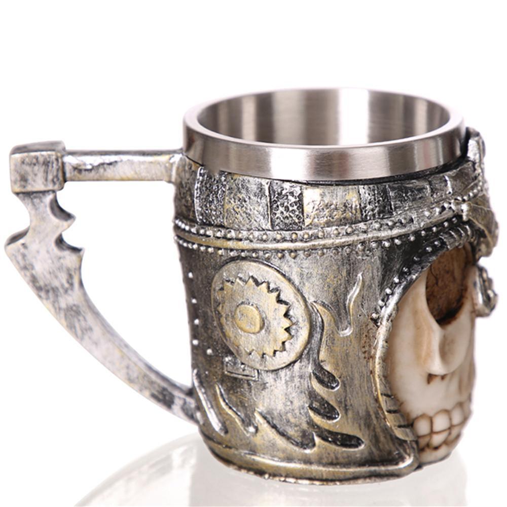 420ml Drinkware Coffee Beer Mug Tankard Gothic Style Skull Skeleton Helmet Halloween Personality 3d Gift Warrior 2IHDYWE9