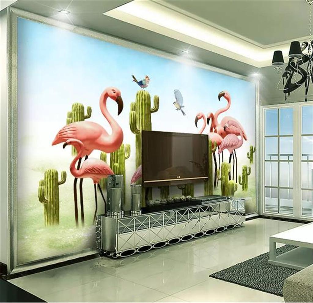 Custom Wallpaper 3d Nordic Small Fresh 3D Cactus Flamingo Living Room Bedroom Background Wall Decoration Wallpaper