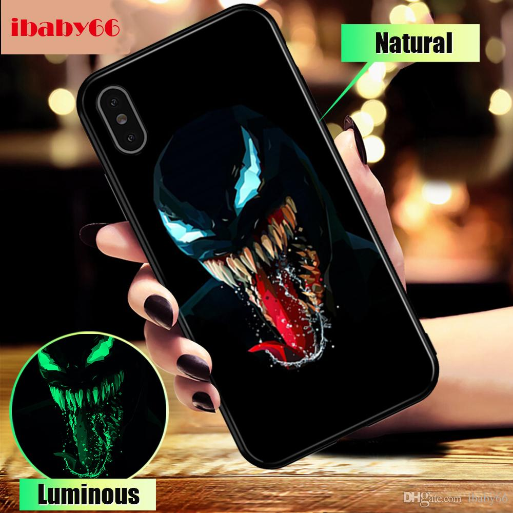 hot sales 67f8a aded1 Marvel Venom Glass Case For iPhone 7 8 Plus Case For iPhone X XS MAX XS  Luxury Silicone Phone Cases For iPhone 6 S 6S Plus