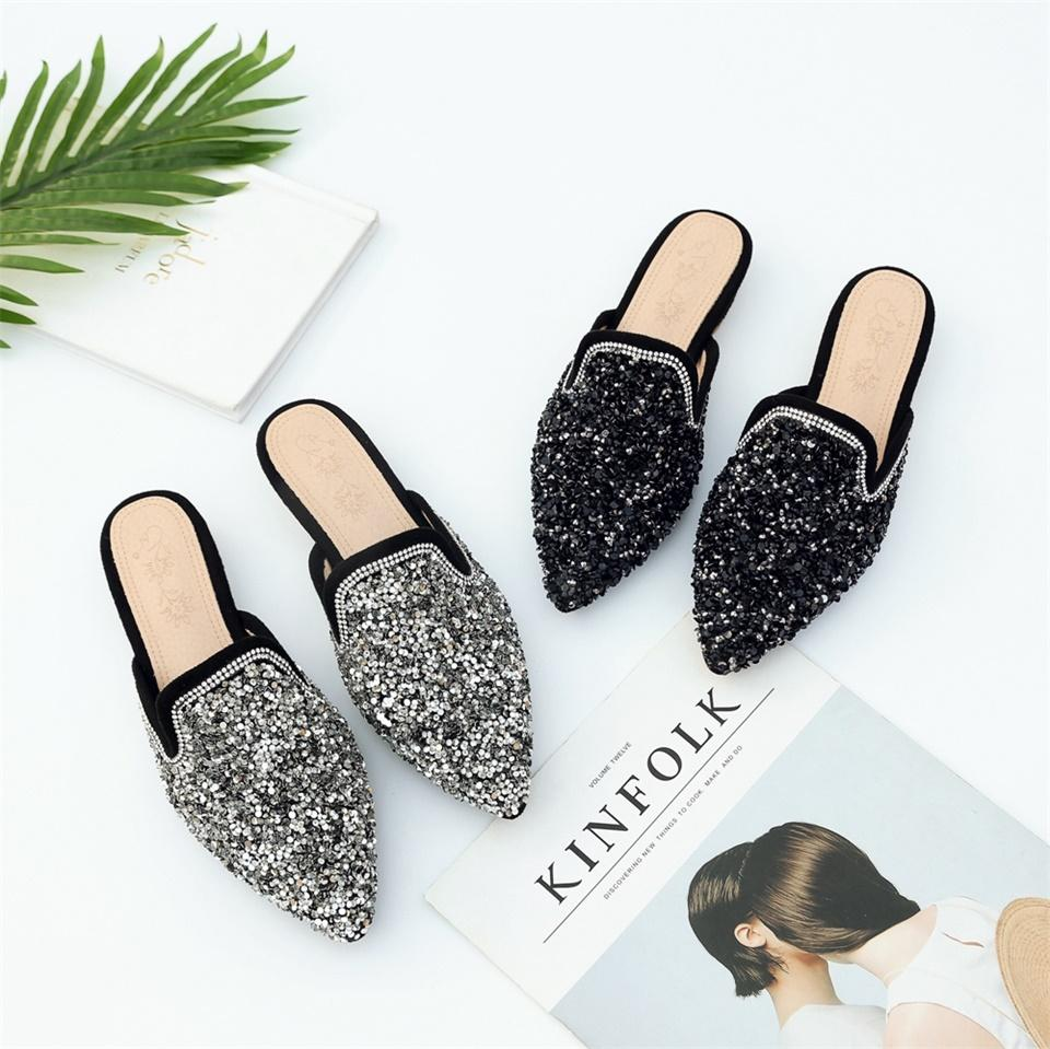 37241dc7a84a0 2018Women Slippers Fashion Backless Outside Loafers Flat Shoes Pointed Toe  Mule Casual Slides Women s Slippers