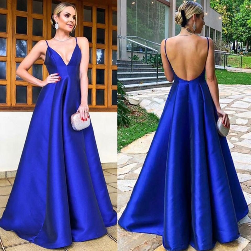 5888ce9b8a Royal Blue Prom Dresses 2019 A Line Spaghetti Straps Deep V Neck Evening  Gowns Backless Formal Dresses DP0209 Long Dresses For Prom Long Formal  Dress From ...