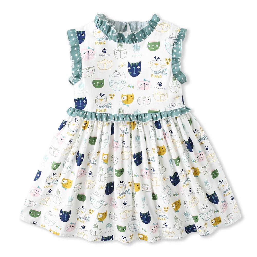 Exquisite Mädchen Kinder Kleidung Neue Ankunft Sommer Gir Elegante ärmellose Cartoon Farbe Katze Design hochwertige baumwolle baby kinder prinzessin