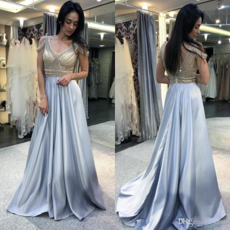 Charming A Line V Neck Cold Shoulder Sweep Train Light Blue Prom Dress with Beading Satin Backless Evening Formal Dresses