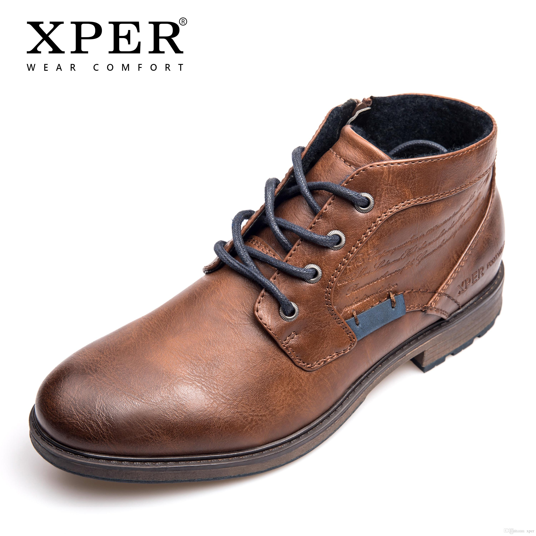 8e294ac5b3b4c3 Großhandel XPER Marke 2018 Große Größe 40 48 Stiefel Männer Casual Herbst  Winter Schuhe Herren Stiefeletten Reißverschluss Komfort Arbeitsschuhe ...