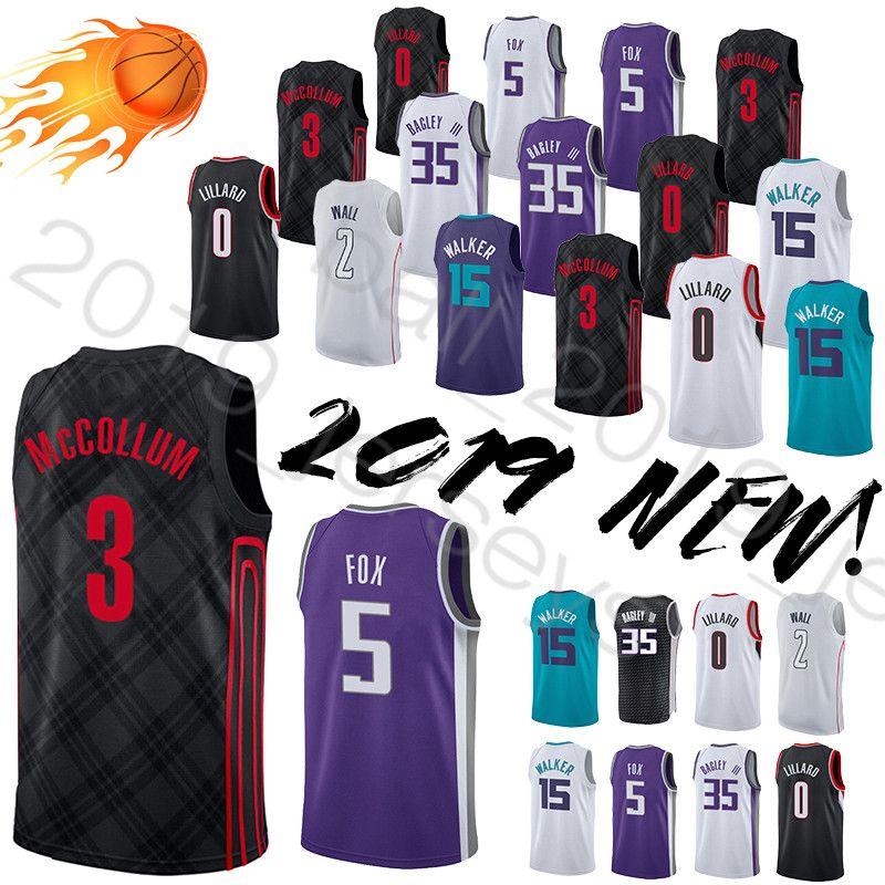 new arrivals b8333 eacd5 0 Lillard jersey Charlotte jersey Hornets 35 Bagley III 5 Fox 15 Walker  jersey 2 Wall basketball jerseys