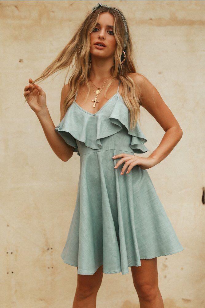 503c1a9572 2019 Zhang Qinjie 2019 Women Summer Straps Beach Chiffon Dress Sexy V Neck Open  Back Lace Up Ruffles Mini Dresses Casual Dress Vestidos From Pineapple2, ...