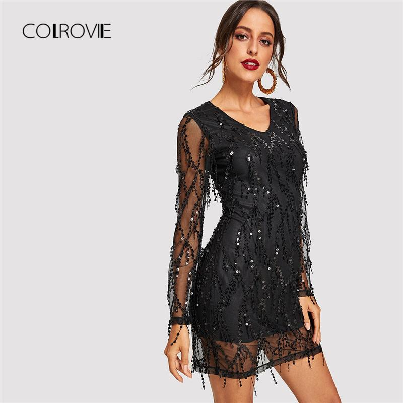 07cda40a5cb7 2019 COLROVIE Black Sheer Mesh Fringe Overlay Sequin Party Women Spring V  Neck Tassel Bodycon Sexy Dress Night Out Mini Dresses Q190425 From  Yizhan05, ...