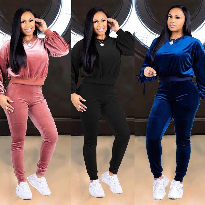 b1047e029a5f 2019 New Velvet Tracksuit Women's Loungewear Sets Winter Pullover  Sweatshirts and Long Pants Casual Two Piece Set Ladies Sweat Suits