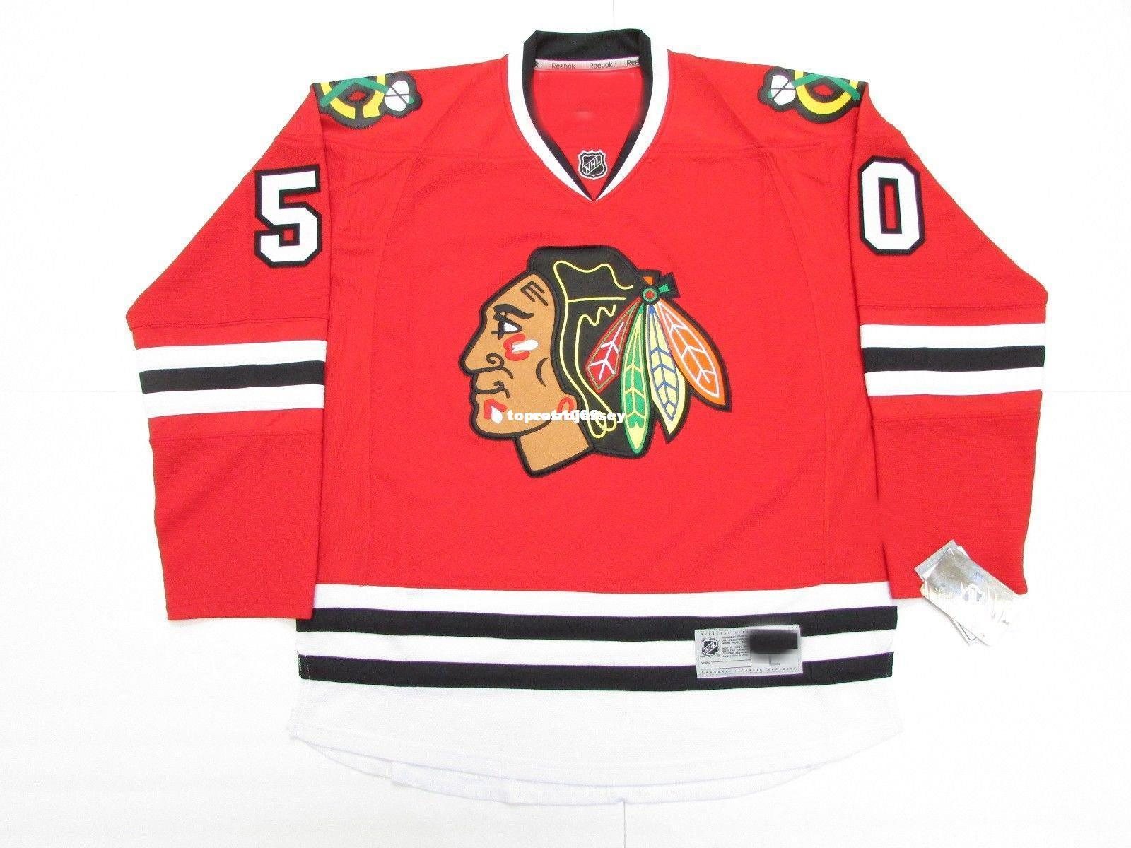 Custom custom COREY CRAWFORD CHICAGO BLACKHAWKS HOME PREMIER 7185 HOCKEY JERSEY punto aggiungere qualsiasi numero qualsiasi nome Mens Hockey Jersey XS-6XL