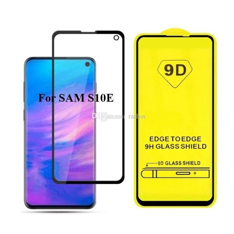 9D Full Cover Ausgeglichenes Glas Voll Kleber 9H-Schirm-Schutz für iPhone 12 11 Pro Max XS XR X 8 2020 Samsung S10 E A10 A31 A71 A21S Huawei P40