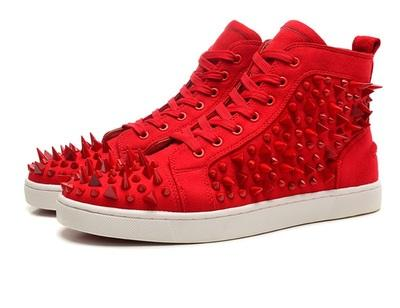 Fashion Designer Brand Studded Spikes Flats shoes Red Bottom Shoes For Men and Women Party Lovers Genuine Leather Sneakers 35-46 !019