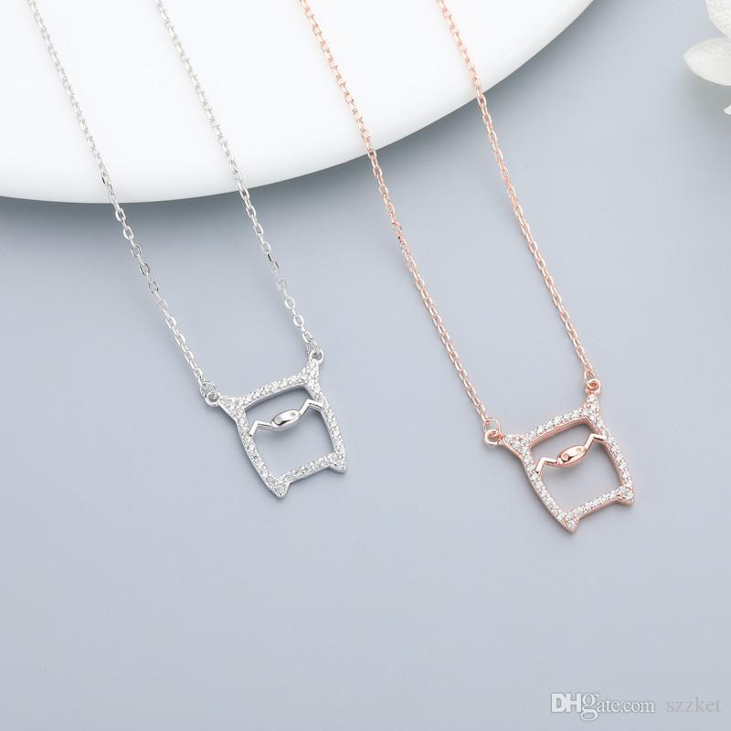 S925 sterling silver zircon cute pig pendant necklace ladies fashion simple clavicle chain necklace jewelry gift 6-XL1092